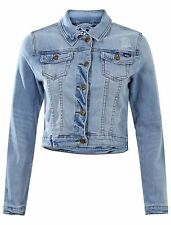 Button Patternless Cropped Casual Coats & Jackets for Women