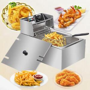 2500W 6L / 6.3QT Electric Deep Fryer Commercial Tabletop Restaurant 1 Fry Basket