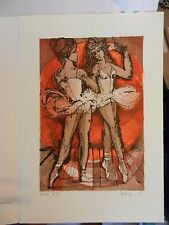 Ballerina Dancers Lithograph Print by René Villiger Signed Numbered 137/600