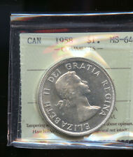 1958 Canada Silver Dollar ICCS Certified MS64 DCB105