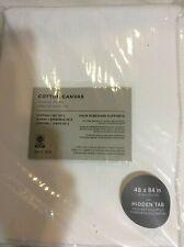 West Elm Two (2) Cotton Canvas Curtains 48x84 New! White Drape Pole Top
