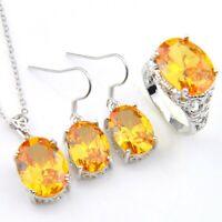 Anniversary Jewelry Set Shiny Yellow Citrine Gems Silver Pendant Earrings Rings