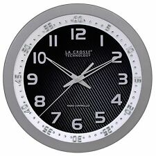 "404-1210S La Crosse Technology 10"" Atomic Wall Clock with Bezel - Refurbished"