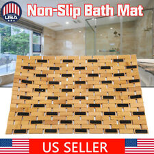 Multipurpose Bamboo Bath Mat For Shower Spa Sauna with Non Slip Feet  24 x 16""