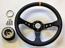 Mazda Miata 35cm JDM Black Yellow Deep Dish Steering Wheel Boss Kit Hub Adapter