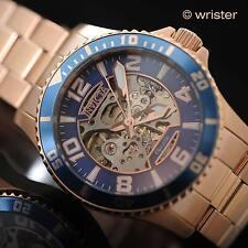 Automatic Invicta Objet D Art 18k Rose Gold IP SS Blue Skeleton 42mm Men's Watch