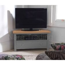 Richmond corner television cabinet grey painted furniture with solid oak top
