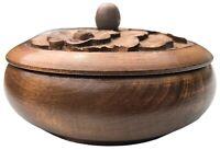 "Vintage Retro Wooden Bowl 5.5""  Trinket Box Carved Flower Lid Farmhouse Cottage"