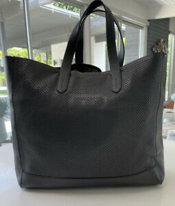New. Ralph Lauren Purple Label Perforated Leather RL Tote Bag. Black
