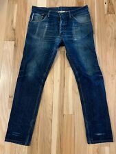 Raleigh Denim Thin Taper Jeans Size 36 Made in USA Beautifully Faded, Restored