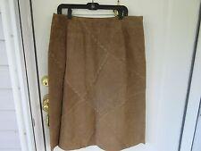 Faded Glory Womens Sz. 16 Beige Leather Short A-Line Skirt.