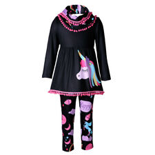 Единорог Kids для девочки наряды одежда, футболка, топы, платье + длинные брюки комплект 2 шт.
