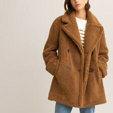 La Redoute Bouclé Teddy Faux Fur Coat Size 10/12 Camel Brown Soft RRP £68