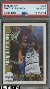 1992-93 NBA Hoops #442 Shaquille O'Neal Orlando Magic RC Rookie HOF PSA 10