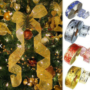 1Roll 2M Christmas Ribbon Merry Wire Edge Organza Cake Decor Xmas Gifts Wrapping