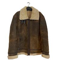 Vintage Aviator B3 Flight Men's Leather Sheepskin Shearling Bomber Jacket Coat