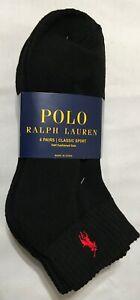 Polo Ralph Lauren Athletic 6-Pair Men's Quarter Crew Socks  Black with Red Pony