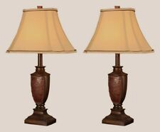 Table Lamp Set of 2 Antique Style Desk Light Nightstand Lamps Reddish Brown New