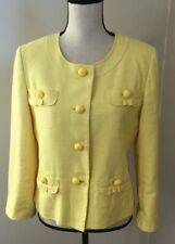Talbots Women's Yellow Button Front Lined Cotton / Linen Blazer Size 8 - EUC
