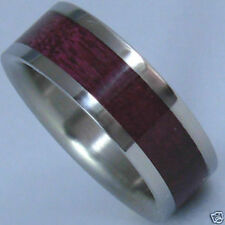 Titanium Ring With Purple Heart Wood Inlay - FREE Ring Box