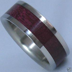 Titanium Ring With Purple Heart Wood Inlay - FREE Ring Box