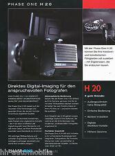 Prospetto Phase One h20 Digital BACK medio formato telecamere 3/03 D brochure OPUSCOLO