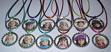 12 AMERICAN GIRL DOLL THEME PARTY SUPPLY BOTTLE CAP FAVORS NECKLACE COLOR CORD#1