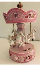 """Pink Horse Carousel 10"""" Child Baby Christening Keepsake"""