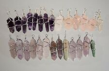 Lot of Crystal Point Silver Wire Wrap Charms