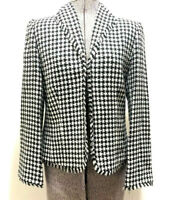 Amanda Smith Womens Houndstooth Tweed Blazer Suit Jacket Black & White Sz 8