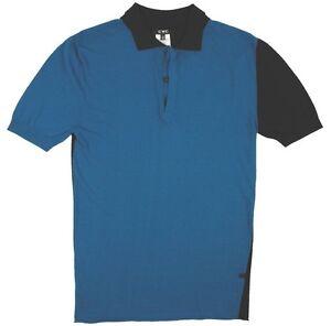 C'N'C (Costume National) knit rayon polo shirt cobal blue/black