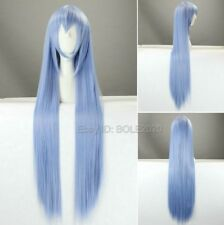 Pretty 100cm Long Light Blue Straight Cosplay Wig Synthetic Woman's Party Wigs
