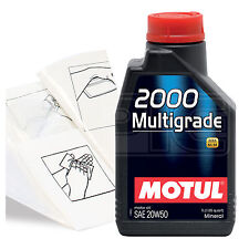 Engine Oil Top Up 1 LITRE Motul 2000 Multigrade 20W-50 1L +Gloves,Wipes,Funnel