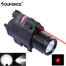 Mounted LED Flashlight Torch & 650nm Red Dot Laser Sight For Rifle Airsoft