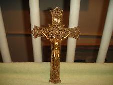 Vintage Victorian Art Deco Jesus Crucifix Cross-Gold Metal Ormolu-LQQK