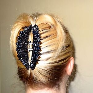 """NWT STRONG PLASTIC NO SLIP HAIR BARRETTE JAW CLIP CLAW, LARGE 4""""- BLACK"""