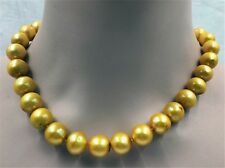 Classic natural 11-14MM HUGE baroque south sea pearl necklace GOLD  hand-made