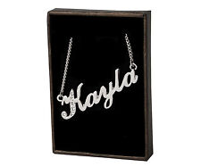 "Plated - Made With Swarovski Elements Name Necklace ""Kayla"" - 18ct White Gold"