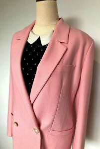 Vintage Authentic VERSUS VERSACE Pink Double Breasted Wool Blazer Size 8-10