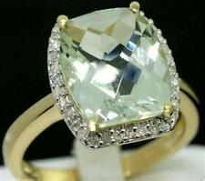 Green Amethyst & 34 Diamond 9ct 375 Solid Gold Ring - SZ N/7.0 - 30 Days Refunds