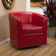 Contemporary Red Leather Swivel Club Chair
