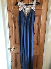 atmosphere  16 blue maxi dress cream lace back elastic waist stretch worn once