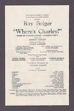 "Ray Bolger ""WHERE'S CHARLEY?"" Doretta Morrow / Frank Loesser 1948 Tryout Program"