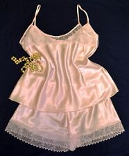Cami Top French Knicker Elegant Satin & Lace Set Baby Pink Size 18/20          6