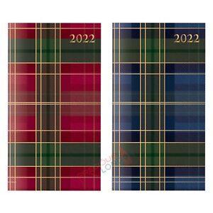 Week To View 2022 Slim Diary Full Year Organiser Printed Tartan With Foil