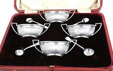Antique Victorian Sterling Silver Salt Cellars Set of 4 Cased Birmingham 1898