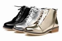 Womens Lace Up Round Toe low heel Oxfords Casual Ankle Boots High Top shoes