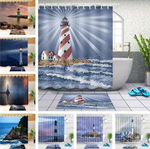 "Seaside Lighthouse Polyester Fabric Shower Curtain Set Bathroom Decor Hooks 72"""