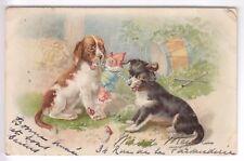 CPA  ANIMAL FANTAISIE -  CHIEN DOG BEAGLE GRIFFON JOUET PANTIN TAMBOUR 1904 ~B97
