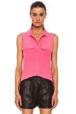 EQUIPMENT Collared Sleeveless Hot Pink Blouse, M